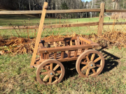Medium Flower Girl Pumpkin Wagon, in light brown stain