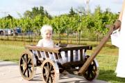 Medium size wagon, dark brown stain