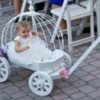 angel carriage painted white with hoops