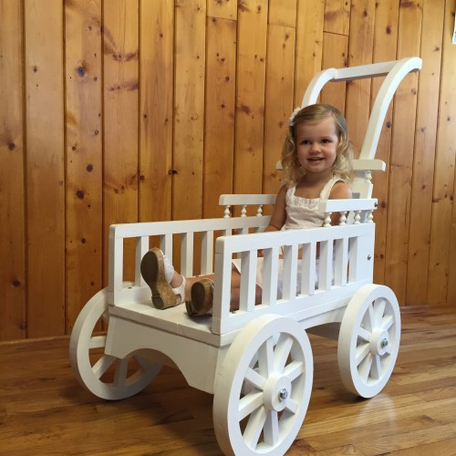 Graceful Push Carriage -Gloss White with 2 1/2 year old