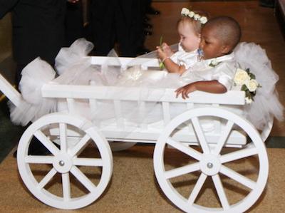 Flower Girl Pumpkin Wagons | Mini Wedding Wagons
