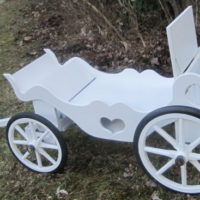 Princess Carriage with rubber wheel rims and custom dove release box