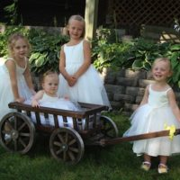 Medium Flower Girl Pumpkin Wagon stained
