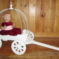 angel carriage painted white with hoops and backrest