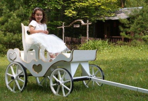 Princess Carriage with steel wheels, cinderella throne and custom gold trim